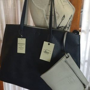 G.H. BASS & CO. REVERSIBLE Navy & Gray TOTE POUCH